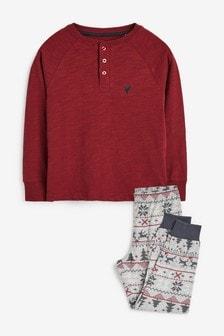 Plum/Grey Fairisle Pattern Cosy Leg Pyjamas (3-16yrs)