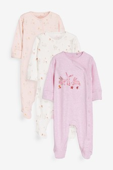 Pink 3 Pack Floral Bunny Sleepsuits (0mths-2yrs)