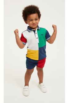 Multicoloured Polo And Short Set (3mths-7yrs)