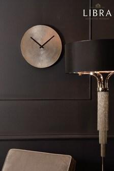 Libra Antique Silver Starburst Aluminium Wall Clock