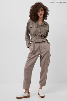 French Connection Brown SIouchy Drape Cargo Trousers