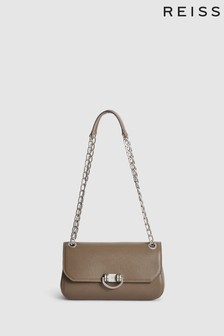 Reiss Brown Lexi Leather Shoulder Bag