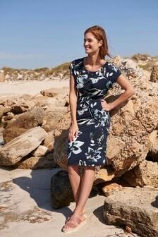 Navy Floral Jersey Dress