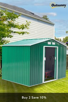 Green Lockable Large Garden Shed Green by Outsunny