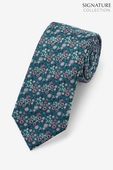 Teal Signature Blue Floral Tie
