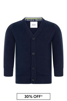 Baby Boys Navy Cotton Knitted Cardigan