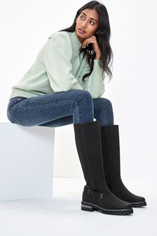 Black Extra Wide Fit Chunky Buckle Knee High Boots