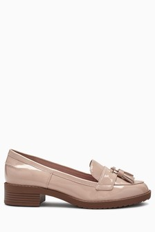 Nude Patent  Cleated Tassel Loafers