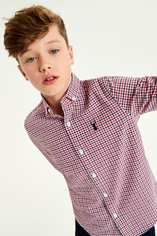 Red Long Sleeve Long Sleeve Gingham Check Oxford Shirt (3-16yrs)