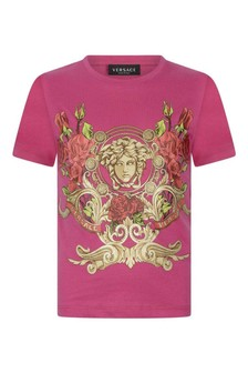 Girls Fuchsia Cotton Crest T-Shirt
