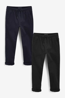 Black/Navy 2 Pack Pull-On Trousers (3-16yrs)