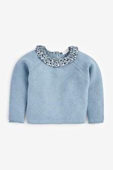 Blue Ruffle Collar Jumper (3mths-7yrs)