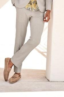 Chalk Trousers Linen Blend Skinny Fit Suit