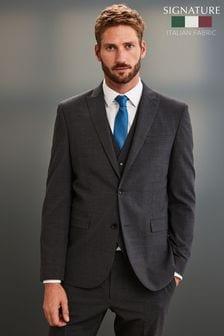 Grey Slim Fit Signature Motionflex Suit: Jacket
