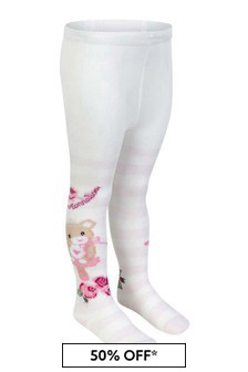 جوارب طويلة قطن وردي مقلمة دب للبنات البيبي