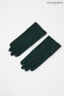 Accessorize Green Wool Gloves With Buttons