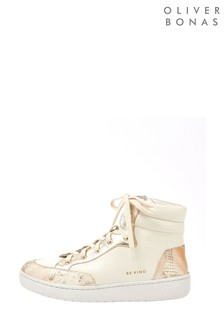 Oliver Bonas White Snake & Gold High Top Trainers