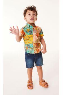 Hawaiian Splice Print Shirt Cotton Short Sleeve (3mths-7yrs)