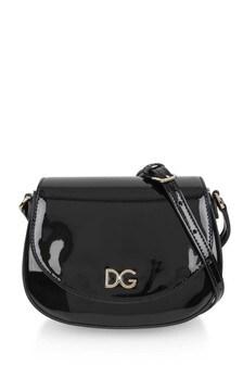 Girls Black Patent Leather Shoulder Bag