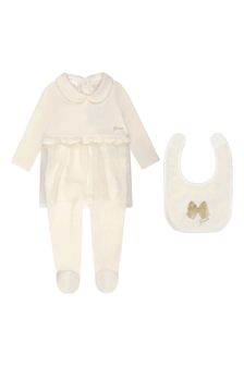 Girls Chenille & Glitter Mesh Babygrow Two Piece Set