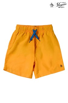 Original Penguin Yellow Branded Swim Shorts