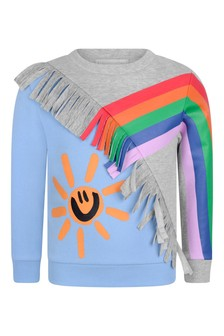 Girls Grey & Blue Rainbow Print Sweater