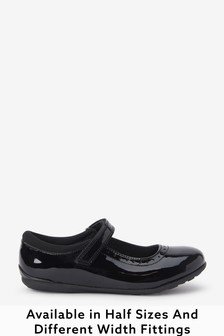 Black Patent Narrow Fit (E) Leather Mary Jane Brogues