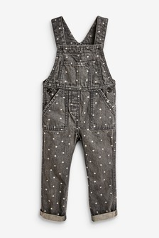 Grey All-Over-Print Floral Dungarees (3mths-7yrs)