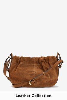 Tan Suede Leather Drawstring Across Body Bucket Bag