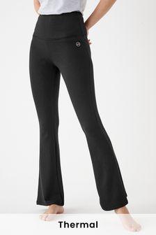 Black Next Elements Brushed Thermal Kick Flare Pants