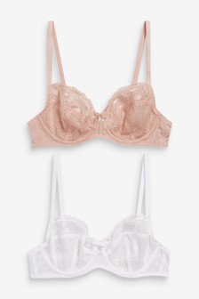 Pink Lizzie Embroidered Non Padded Balcony Bras Two Pack