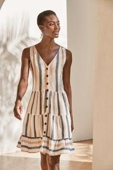 Neutral Stripe Viscose/Linen Mixed Tiered Mini Dress