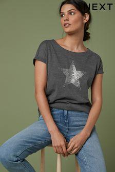 Embellished Star Charcoal Curved Hem T-Shirt