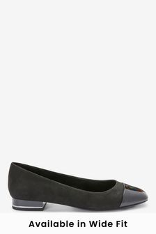 Black Forever Comfort® Toe Cap Ballerinas