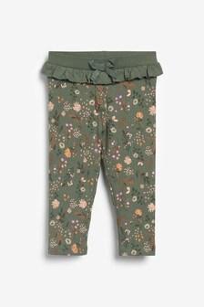 Khaki Floral All Over Print Leggings (3mths-7yrs)
