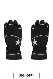 Kids Black Star Ski Gloves