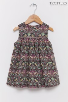 Trotters London Brown Strawberry Thief Liberty Print Pinafore