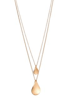 Gold Tone Petal Two Layer Necklace