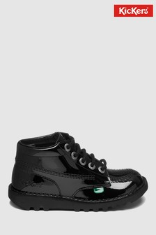 Kickers® Black Patent Kick Hi Lace-Up Shoe