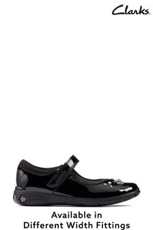 Clarks Black Pat Sea Shimmer K Shoes