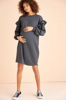 Charcoal Maternity Ruffle Sweat Dress