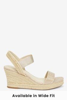 Shimmer Regular/Wide Fit Square Toe Espadrille Wedges