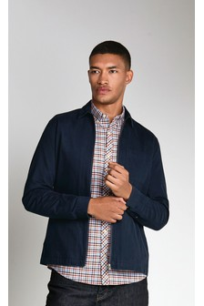 Ecru Slim Fit Gingham Long Sleeve Stretch Oxford Shirt