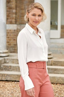 Ecru Emma Willis Fabric Covered Button Shirt