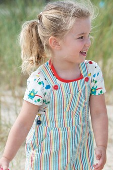 Frugi White GOTS Organic Sporty Print Short Sleeve T-Shirt