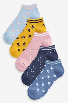 Blue/Yellow Floral Print Trainer Socks 5 Pack