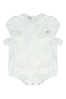 Baby Unisex Cream Cotton Romper