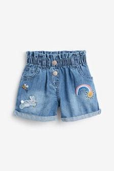 Mid Blue Denim Bunny Pull-On Shorts (3mths-7yrs)