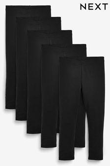 Black 5 Pack Leggings (3-16yrs)