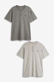 Grey/Ecru Grandad Collar T-Shirts Two Pack
